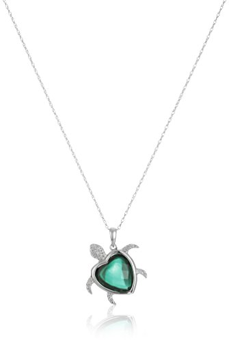 10k White Gold Turtle Created Emerald Diamond Pendant Necklace (0.02 cttw, I-J Color, I2-I3 Clarity), 18