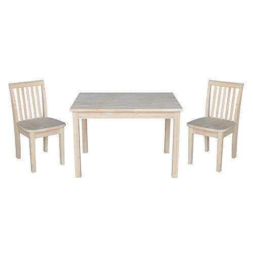 Juvenile Kids Table - International Concepts Table with 2 Mission Juvenile Chairs - Unfinished- 3 Piece Set