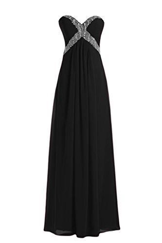 Diseño en forma de corazón de la Toscana de novia de gasa noche Rueckenfrei a largo bola de fiesta vestidos negro