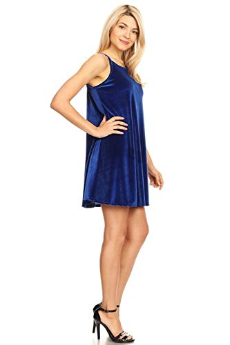 - SWEETKIE Mini Length, Short Dress, Party Wear, Spaghetti Strap, Velvet Dress (X-Large, Royal)