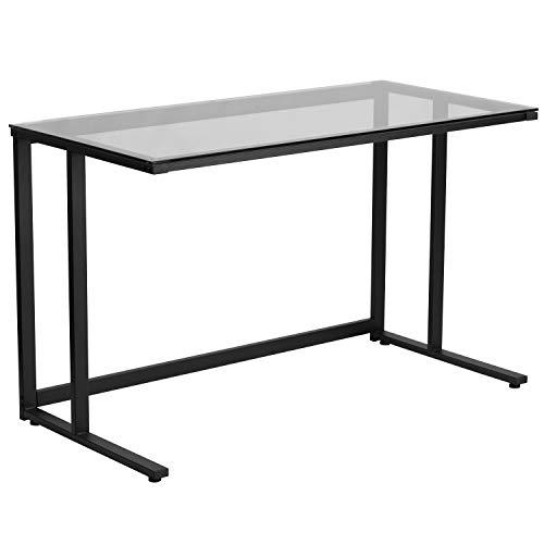 Flash Furniture Glass Desk with Black Pedestal Metal Frame