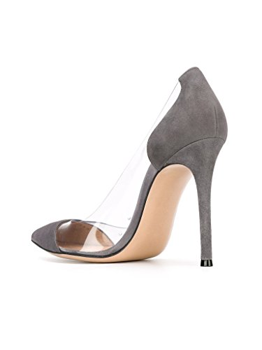 Pumps Event Eldof PVC Pumps High Dress Heel PVC Toe 10cm Transparent Wedding Cap Stilettos Womens Gray Pointed Shoes rII6qnR