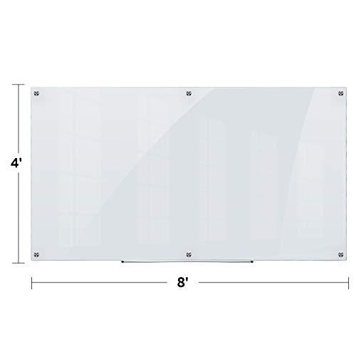 Pizarra de borrado en seco de vidrio AmazonBasics, esmerilada, no magnética, 8 pies x 4 pies
