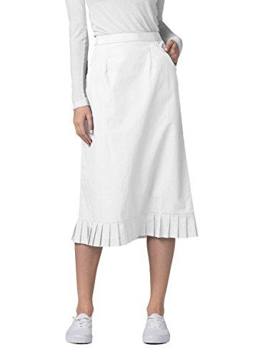 Adar Universal Pleat Flounce Skirt (Available is 10 colors) - 708 - White - Size (Pleats Poplin Skirt)