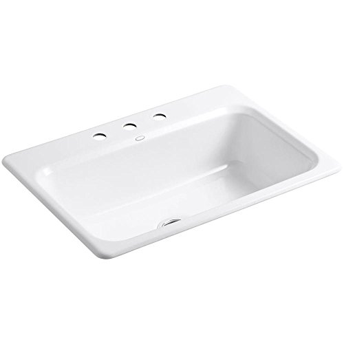 KOHLER K-5832-3-0 Bakersfield Self-Rimming Kitchen Sink, White