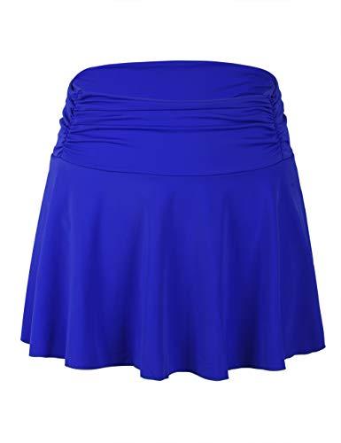 Septangle Women's High Waisted Shirred Bikini Bottom Skirt Tummy Control Swimwear (Royal Blue, US 8) (Royal Bikini)