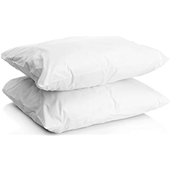 Set of Two 100% Cotton Hotel Down-Alternative Made in USA Pillows - Three Comfort Levels! (Silver, Standard)