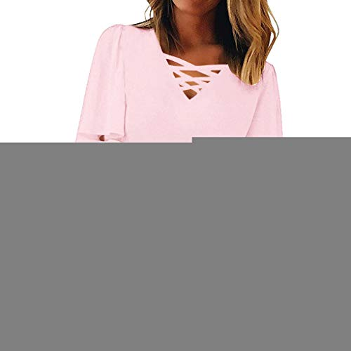(Women V Neck Tops Loose 3/4 Bell Sleeves Blouse Solid Lace Patchwork Tees Pullover Lace up Plus Size Tops for Women Pink)