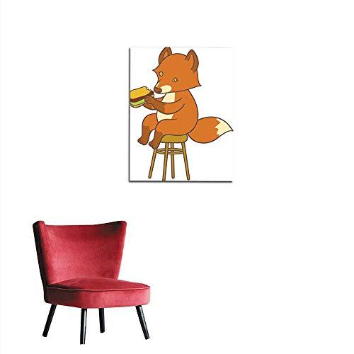 longbuyer Wallpaper Cute Cartoon Fox Holding Big Tasty Sandwich Mural 32