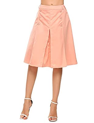 Chigant Women's High Waisted Vintage Wear to Work Midi Skirt with Button