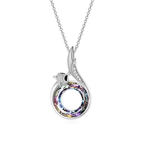 AOBOCO 925 Sterling Silver Fox Pendant Necklace for Women Girls with Purple Circle Swarovski Crystals,Birthday Anniversary Jewelry Gifts for her ()