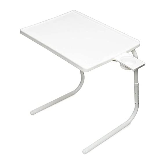 Dragon Multipurpose Adjustable and Portable Laptop Table with Cup Holder Matte White Changing Table