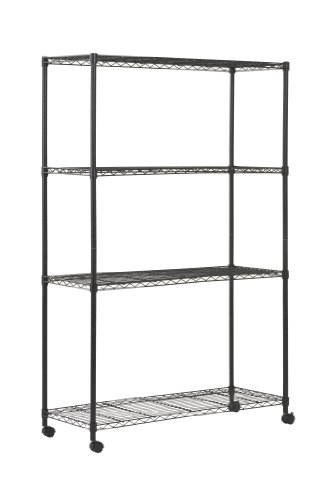 48in Depth - Sandusky MWS481872 4-Tier Mobile Wire Shelving Unit with 2