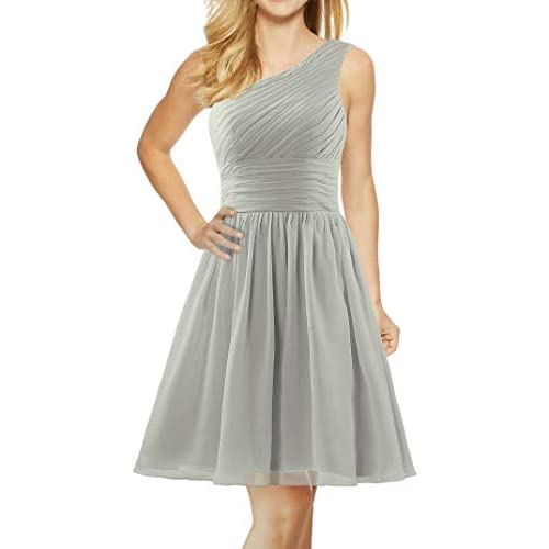 ANTS Womens One Shoulder Chiffon Short Homecoming Cocktail Dress