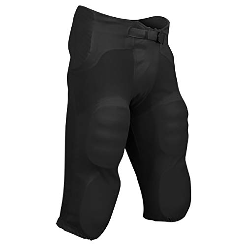 CHAMPRO Sports Adult Safety Integrated Football Practice Pants, Built-in Pads (Black, Large)