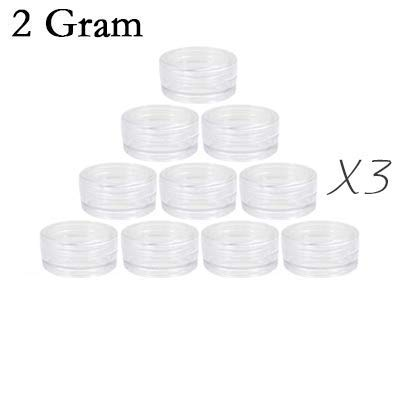 Small capacity 30 pieces empty Plastic Cosmetic Container with transparent Lids circular bottom 2/3/5 Gram Size all-transparent for Make Up,Eye Shadow,Nails,Powder, BPA Free (2 Gram, transparent) ()
