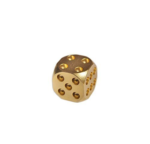 Cevinee™ Set of 5 Classic Brass Dices Set, Solid Polished D6 Cube Dies, Portable Copper Poker Dominoes Tables Board Game Drinking Game Dice, Xmas Gift Metal Dice ()