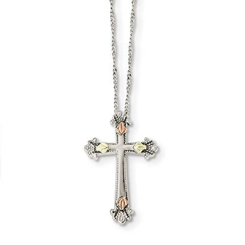 Set Sterling Silver Crucifix (ICE CARATS 925 Sterling Silver 12k Accents Cross Religious Chain Necklace Ring Black Hill Gold Crucifix Fine Jewelry Gift Valentine Day Set For Women Heart)