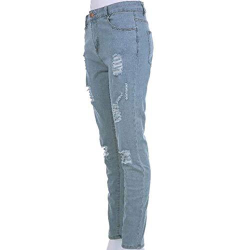 Tinta Uomo Casual Jeans Unita A Semplice Cher Da Moda Stile Leggera Holes Jeggings Slim Pantaloni Hellblau EfwvLaqOx