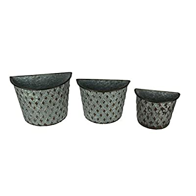 Galvanized Metal Indoor Outdoor Wall Mount Basket Planters Lattice Look Set of 3: Garden & Outdoor