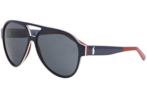 Polo Ralph Lauren deux tons des lunettes de soleil pilotes en bleu blanc rouge PH4130 566787 61 Grey Blue White Red