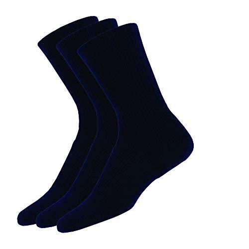 Thorlos Unisex WX Walking Thick Padded Crew Sock, Navy (3 Pack), Medium