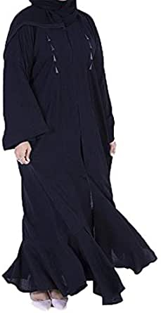 Johrh Abaya With Elastic Sleeves And Zipper With White And Turmeric Lines