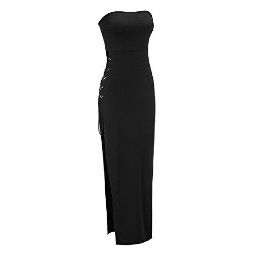 Coolred-femmes Silm Forme Wrap Sexy Bandage Fendu Robe Maxi Cocktail Noir Sans Manches