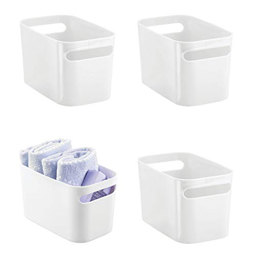 mDesign Deep Plastic Bathroom Vanity Storage Bin with Handles - Organizer for Hand Soap, Body Wash, Shampoo, Lotion, Conditioner, Hand Towel, Hair Brush, Mouthwash - 10
