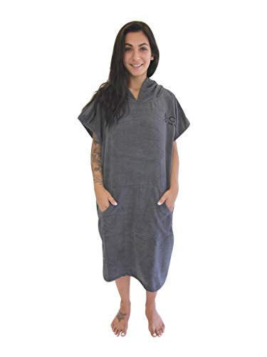 COR Surfing Changing Towel Robe With Hood /One Size Fits All /Great for changing out of your Westuit and keeping warm / for surfing Kayaking Triathlons /Swim Team and Water Polo (Gray)