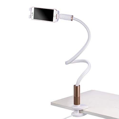 Avantree Cell Phone Holder Clip On Lamp for Bed, Gooseneck Desk Lamp LED Light, Universal Lazy Bracket, Flexible Long Arm for 4-6.3 Phones Mobile Stand - CP901L