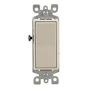 Leviton 5601-2TM 15 Amp, 120/277 Volt, Decora Rocker Single-Pole AC Quiet Switch, Residential Grade, Grounding, 10-Pack, Light Almond