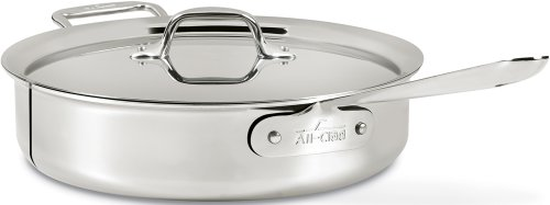 All-Clad 4404 Stainless Steel Tri-Ply Bonded Dishwasher Safe Saute Pan with Lid / Cookware, 4-Quart, Silver by All-Clad