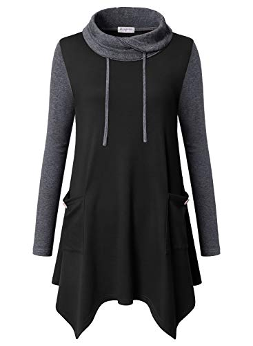 Bulotus Women's Long Sleeve Cowl Neck Lightweight Jersey Knit Comfy Easy Fit A-Line Casual Fall Tunic Shirt,X-Large ()