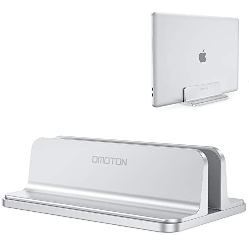 Vertical Laptop Stand Holder, OMOTON Desktop Aluminum MacBook Stand with Adjustable Dock Size, Fits All MacBook, Surface, Chromebook and Gaming Laptops (Up to 17.3 inches), Silver