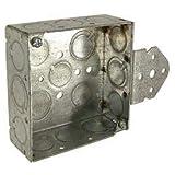 Hubbell 193 Square Box 4'', 1-1/2'' Deep, 1/2''& 3/4'' Side Knockouts, Stud Bracket, Welded - Pkg Qty 25 (193)