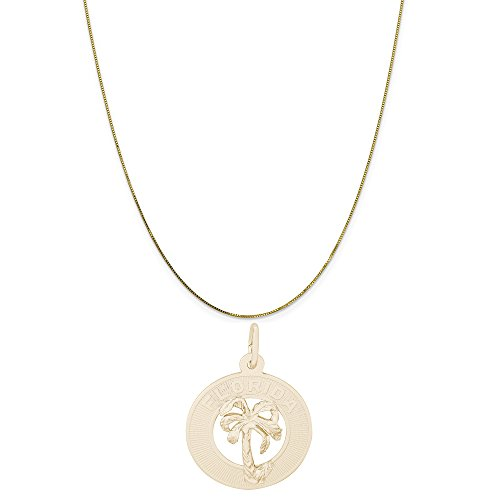Rembrandt Charms 14K Yellow Gold Florida Palm Tree Charm on a Box Chain Necklace, 16