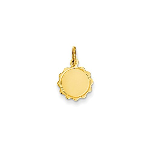 Diamond2Deal 14k Yellow Gold .009 Gauge Engravable Scalloped Disc Charm from Diamond2Deal