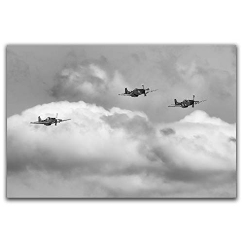 Airplane art, vintage WWII P-51 Mustang photo, metal wall decor, ready to hang