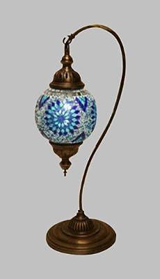 Art-Win Lighting T10015C Blue Handmade Turkish Mosaic Table Lamp