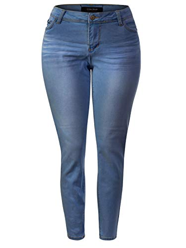 Design by Olivia Women's Classic High Rise Denim Stretchy Skinny Jeans Medium Blue 2XL