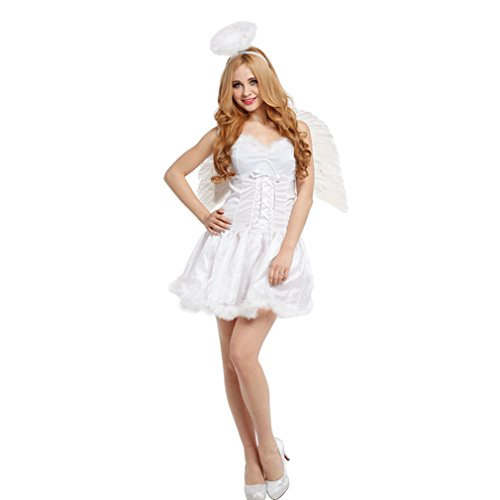 Spooktacular Women's Heavenly Halo Angel Costume with White Dress (Dead Angel Halloween Costume)