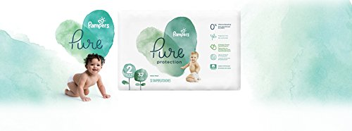 Diapers Size 2, 32 Count - Pampers Pure Protection Disposable Baby Diapers, Hypoallergenic and Unscented Protection, Mega Pack