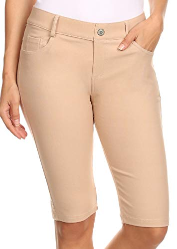 ICONOFLASH Women's Camel Bermuda Shorts 3XL - Pull On Knee Length Jeggings Pockets Jean Leggings 3X-Large