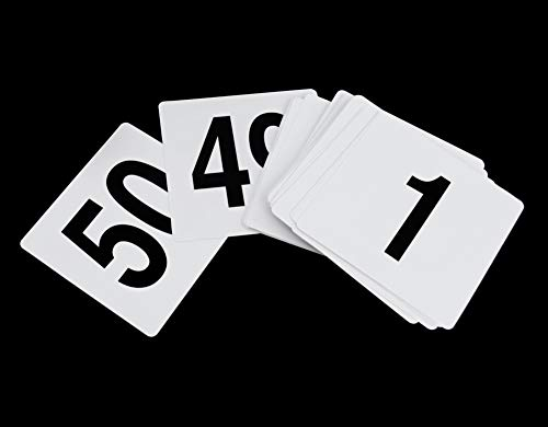 Table Number Cards (New Star 23176 1 to 50-Double Side Plastic Table Numbers, 4 by 4-Inch, Black on)