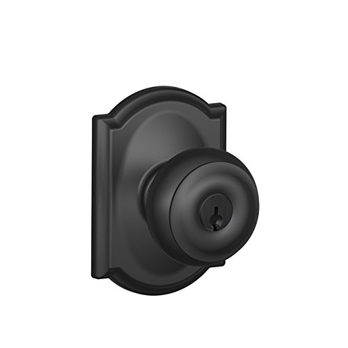 Schlage F51A Georgian With Camelot Rose Keyed Entry Lock C Keyway with 16211 Latch 10063 Strike Matte Black Finish