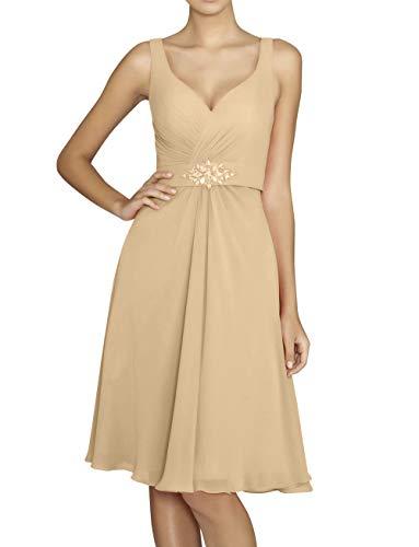 Brautjungfernkleider Knielang Champagner Partykleider Braut Abendkleider mia La Festlichkleider Promkleider A Chiffon Elegant Linie RzwBqtT