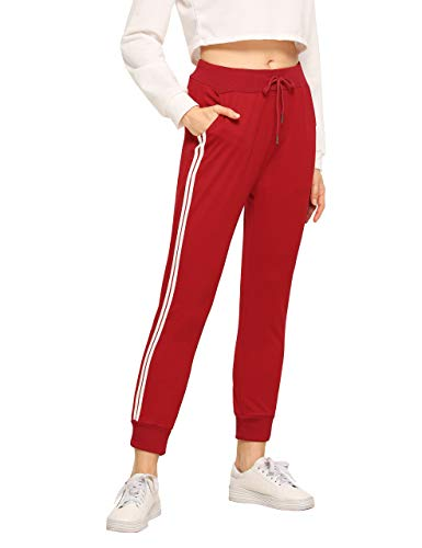- SweatyRocks Women's Drawstring Waist Striped Side Jogger Sweatpants with Pockets (Medium, Red)