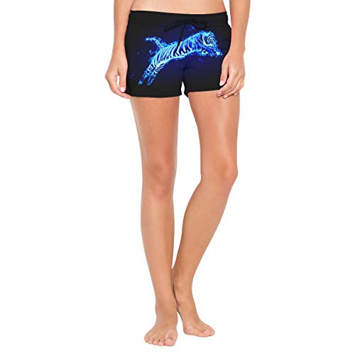 (Flaming Tiger Women's Sport Beach Swim Shorts Board Shorts Swimsuit with Mesh Lining)