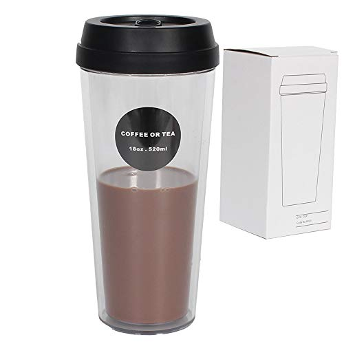 18 OZ Coffee Travel Mugs Camping Fruit Juice Tumbler Beverages and Tea Travel Mugs Double Wall Insulated Party Mugs 520 ML with Lid Camping Mugs for Coffee,Tea,Soft Drinks,Milk Shake- BPA Free -  LeaderPool, Mugs231
